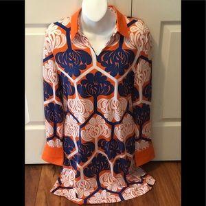 NEW Tracy Negoshian  Lana Orange/royal blue dress